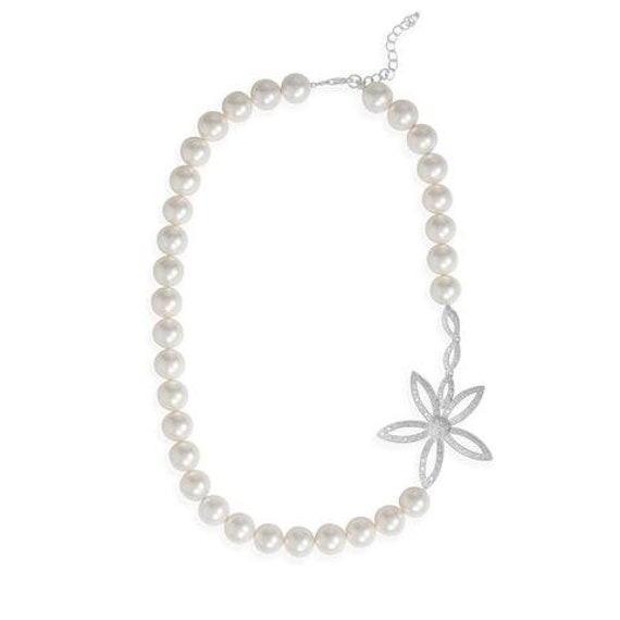 Mother of Pearl and CZ Daisy Necklace