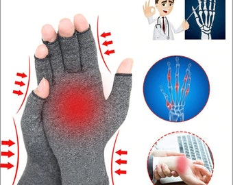 Fingerless Gloves 1 Pair Compression Arthritis Gloves Premium Arthritic Joint Pain Relief Hand Gloves