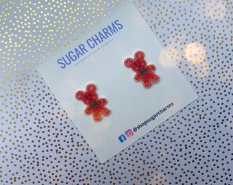 12mm Brown Glitter Gingerbread Man Stud Earrings Metal Free Plastic Post