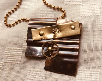 Metal and Antique watch gears necklace
