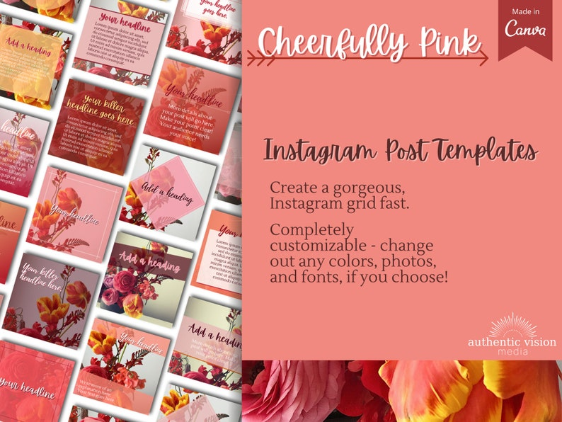 Stories Story Highlights Icons Cheerfully Pink Floral /& Roses Canva Templates for Instagram Posts