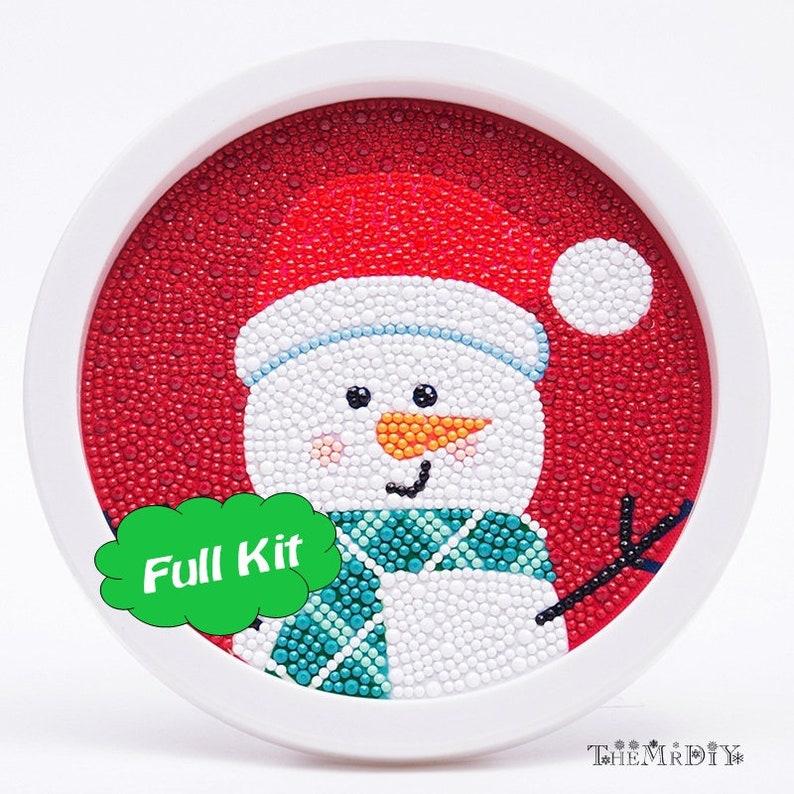 5D DIY Children Diamond Painting Full Kit \u2013 Special Snowman Diamond Embroidery \u2013 Round Photo Frame Include \u2013 Kid Handmade Unique Painting