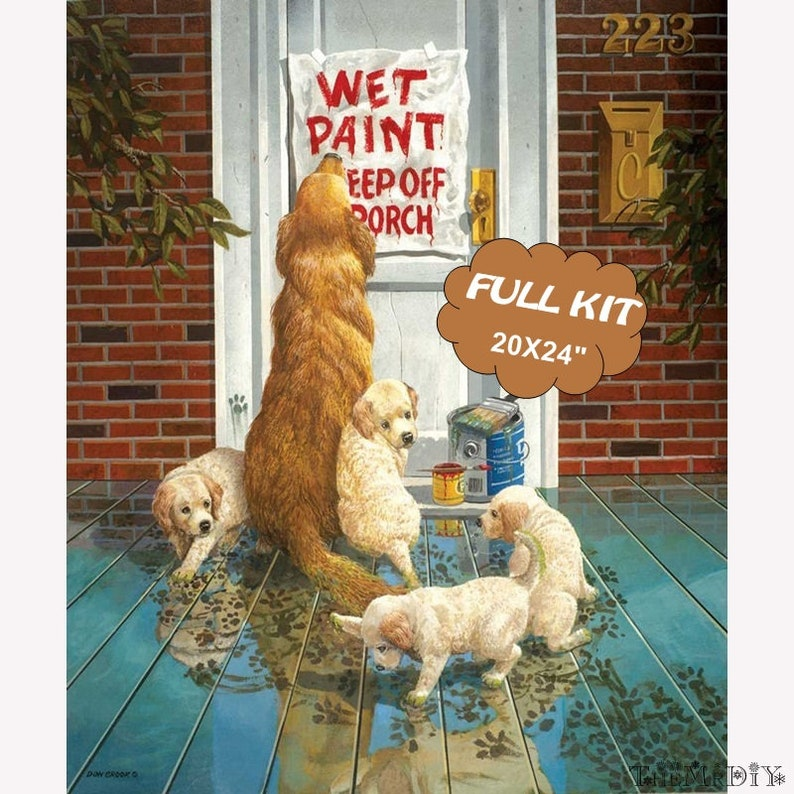Tools Included Funny Dogs Painting Wall Art Diamond Embroidery \u2013 Relieve Pressure Crafts 5D Beginner Diamond Painting Full Drill Kit
