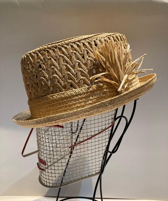 Vintage straw raffia hat men fedora 50's beach
