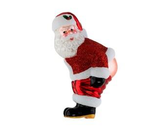 Naughty Santa Christmas Ornament Stocking Cap Santa Ornament Naked Santa