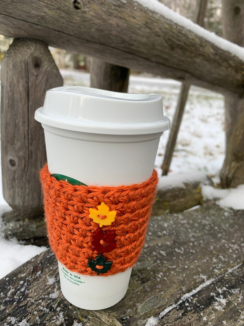 Falling Leaves Crochet Coffee Sleeve image 0