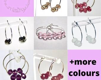 Barca Collection   minimalist earrings   champagne earrings   black cloudy purple pink glass briolette bead hoop earrings   present for mum