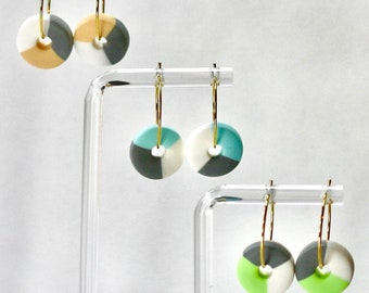 Viva (Bodali)   triple colour polymer clay polo hoop  blue green pink orange white grey earrings   multi colour earrings   silver gold hoop