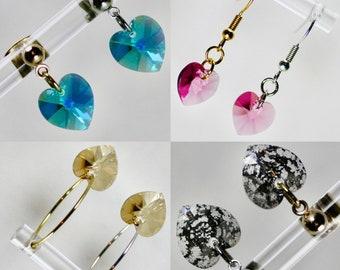 Mia   Swarovski Heart Earrings   Sparkly Heart Valentine Coloured   Dangle Earrings   Hoop Earrings