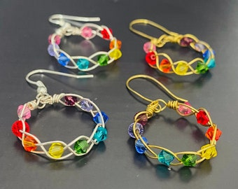Arlo   Rainbow Earrings   Braid Crystal Pride Handmade Hoop Hook  Statement Earrings  Silver Gold Earrings  Summer Earrings   The Mistry Box