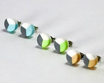Lyra (Bodali)   triple colour polymer clay stud packs   blue green pink orange white grey earrings   multi colour earrings
