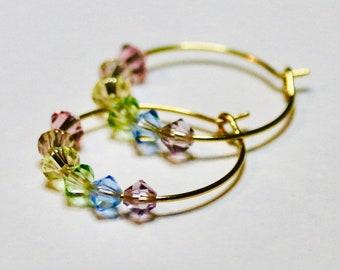Alex   Rainbow earrings   Swarovski Crystal   Pride Earrings   Colourful Earrings   Hoop Earrings   Pastel   Vivid  