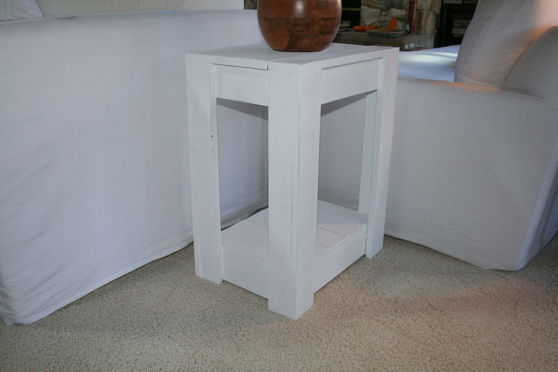 Farmhouse Crate Style End Table, Rustic Destressed Farmhouse End Table