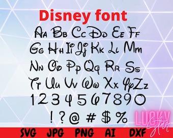 Disney font SVG, Disney letters SVG, Disney alphabet, Disney numbers, Cricut cut files, Silhouette, Dxf