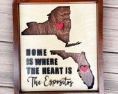 Personalized home is where the heart is two states wood sign, long distance gift, new state moving gift, two states home sign, farewell gift