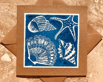 Anniversary Easter Birthday Thank you note A set of four hand-printed linocut greetings cards Mother/'s Day
