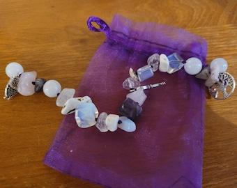 Sterling Silver .925 Handmade Gemstone Necklace BUDDAH Lapis Lazuli and Rainbow Moonstone Crystal Mala