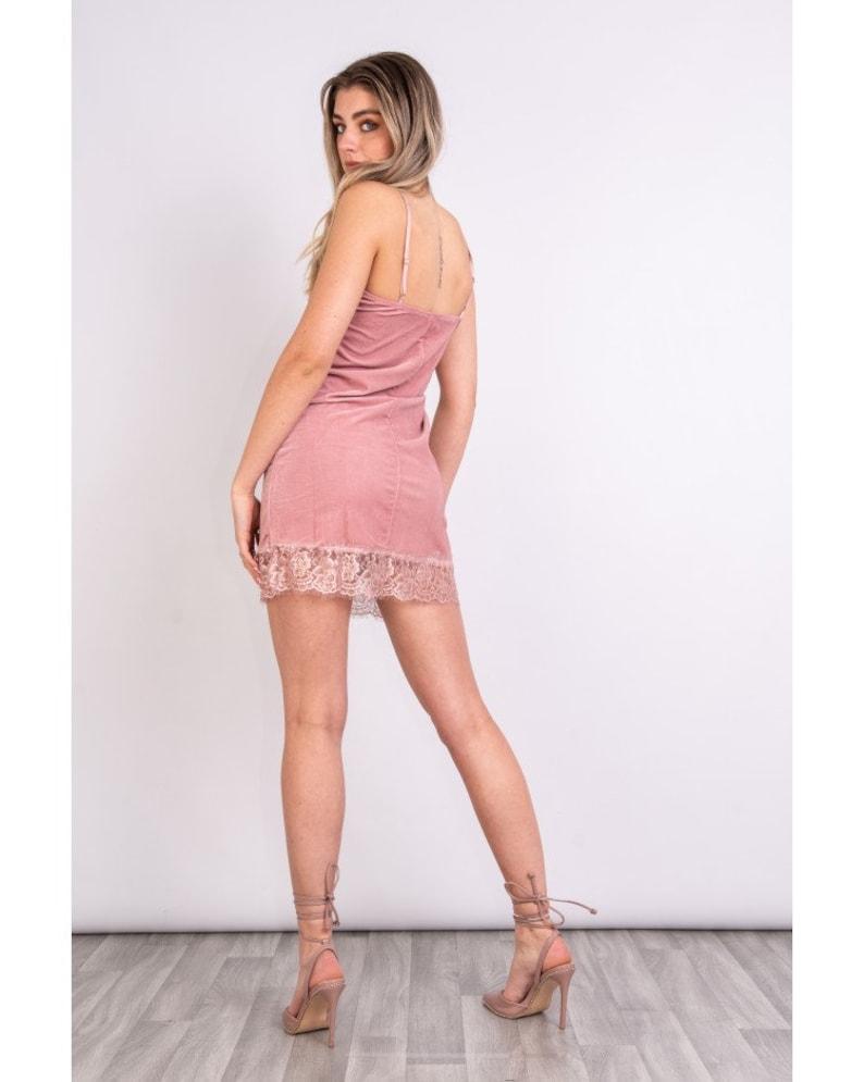 Womens Soft Velvet Lace Trim Dress Stylish Ladies Strap Outfits Luxurious Soft Fabric