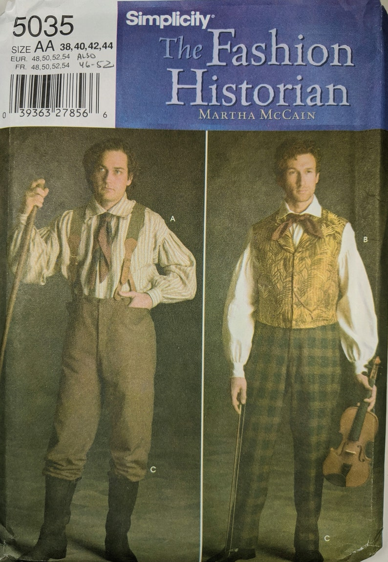 Men's Vintage Reproduction Sewing Patterns     Simplicity Pattern 5035 Mens mid 1800s long-tailed Shirt ( 2 Views) Vest and Period Trousers $25.00 AT vintagedancer.com