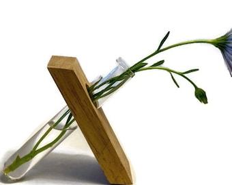 Wooden Angled single stem vase stand