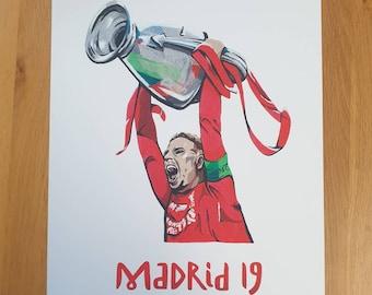 Jordan Henderson LFC Madrid '19 Print