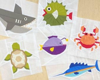 Under the Sea Foundation Paper Piecing Patterns | FPP | Quilt Blocks | PDF Download