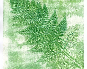 Green Fern Wall Art Print 12 x 10 inches mounted. Abstract  art, unique gel print, layered wall print, mono type print, encyclopedia page