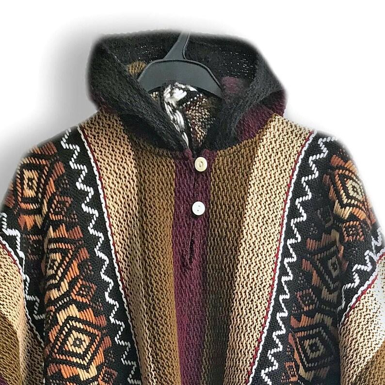 ALPACA Llama Wool Poncho: Lightweight Handmade in Ecuador Boho Hooded Poncho Unisex