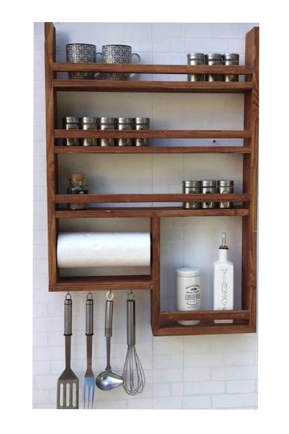 Wooden Spice Rack And Kitchen Rack Wall Mounted Rack Kitchen Etsy