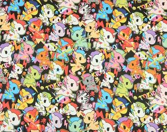 Dark Color Unicorn Fabric, 100% Cotton Fabric, Soft Cotton Fabric for Fabric Masks Making, Quilting, Sewing, DIY Bed Sheet, By the Half Yard