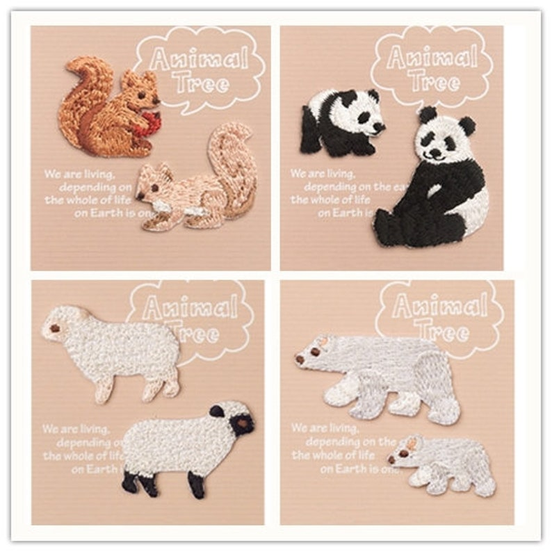 Cartoon squirrel swallow sheep white polar bear panda couple pair Iron sew on Patches for Jackets bag Applique DIY Logo Embroidered Patch