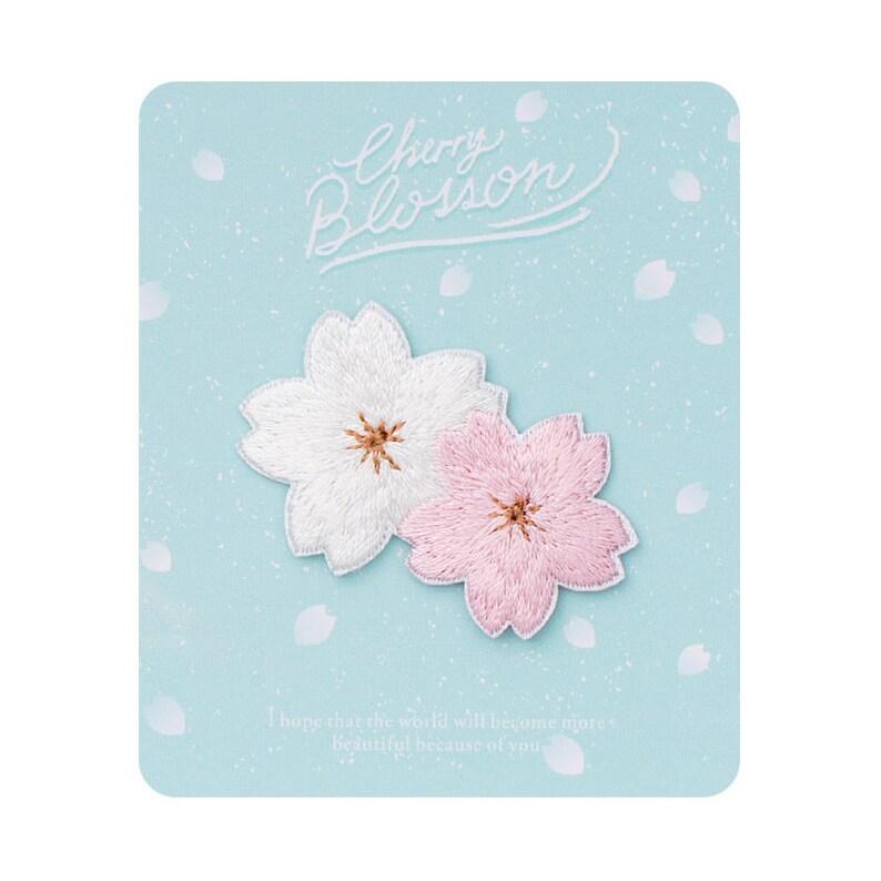 Flower Iron sew on PatchDecorative Patch sakura oriental cherry Flower Badge Applique pins DIY Logo Embroidered Patch