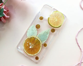 Lemon Orange Fruit Yellow Pressed Flowers Clear Dried Real Natural Floral Case For iPhone 12 11 Pro Max 12 11 Pro 11 12 Mini Xs Max XR X 7P
