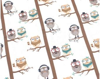 Cotton Fabric Owls - Fabric Meterware Cotton for Sewing Children's Glue Boy Girl Child Baby Decoration Fox Fabric Woodland Animals BA006