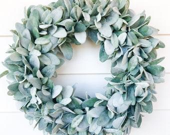 Year Round Lambs Ear Wreath| Farmhouse Wreath  |Greenery Wreath | Spring Wreath |Summer Wreath | Fall Wreath | Wreath for Front Door |