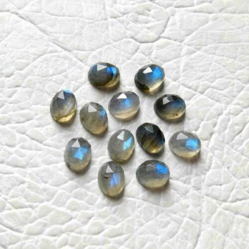7x9mm Gemstones For Jewelry 8x10mm Oval Rose Cut Loose Gemstones Natural Labradorite 6x8mm Labradorite Loose Gemstones