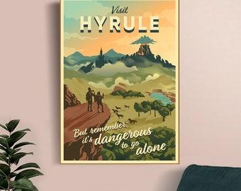 Legend of Zelda Hyrule  travel posters video game poster canvas poster, mural, art poster, home decoration, player room decoration
