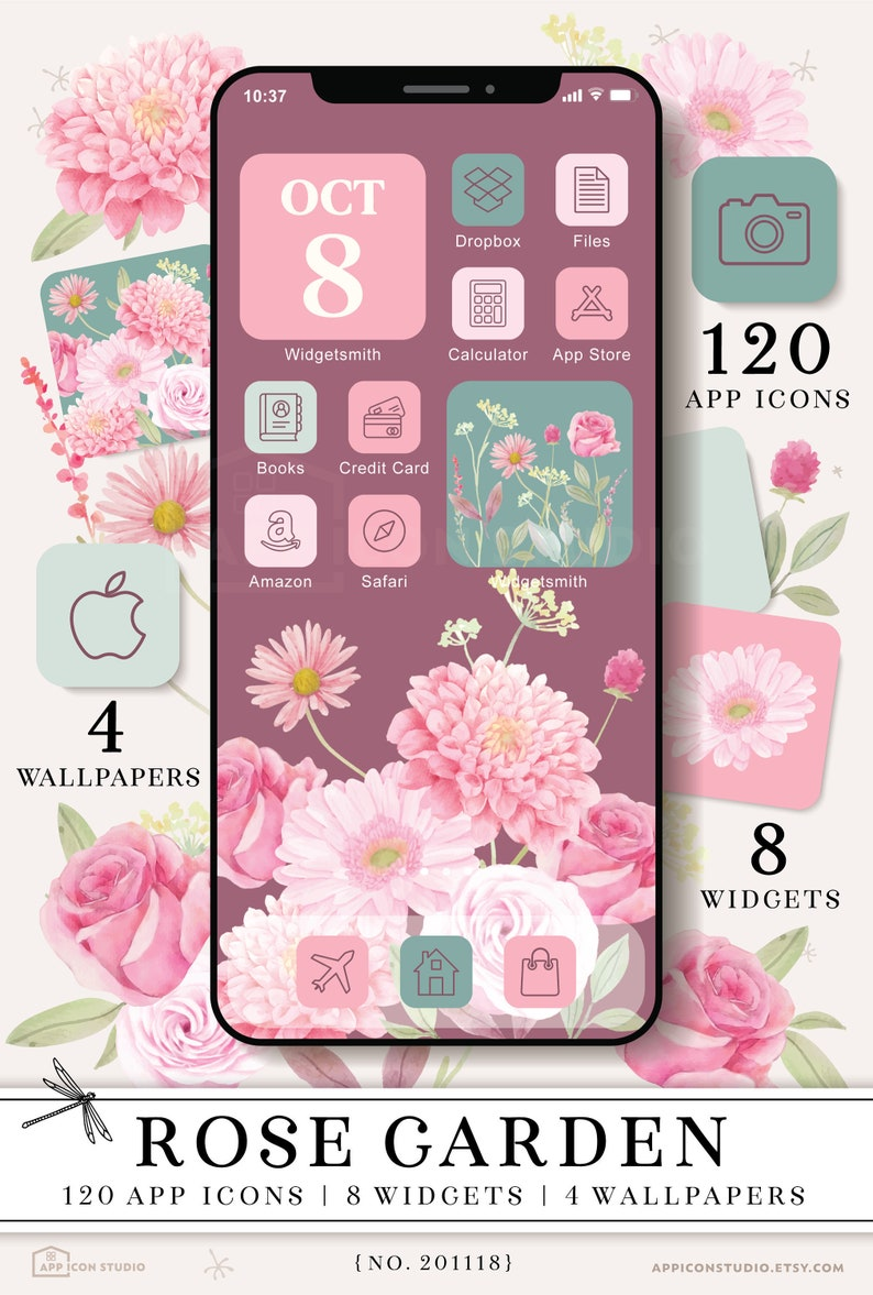 Purple Wallpapers iPhone IOS 14 App Aesthetic Roses iOS 14 Icon ...