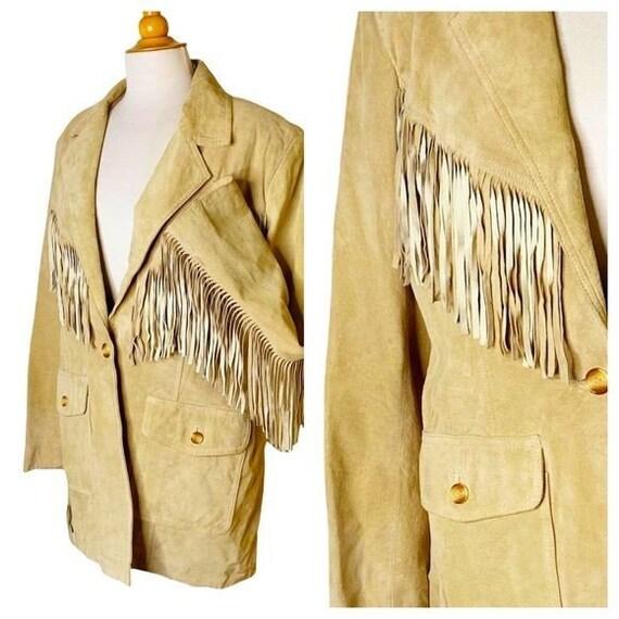 Vintage Unisex Tan Leather Fringed Jacket - Large - image 1