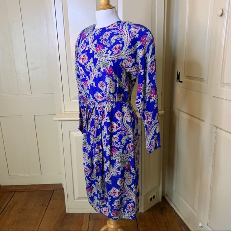 Large New Old Stock with Tags Vintage Maggie London Paisley Silk Dress