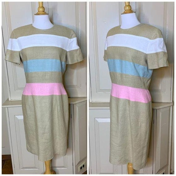 SCAASI Vintage 1980s Striped Linen Dress Size 12 - image 6