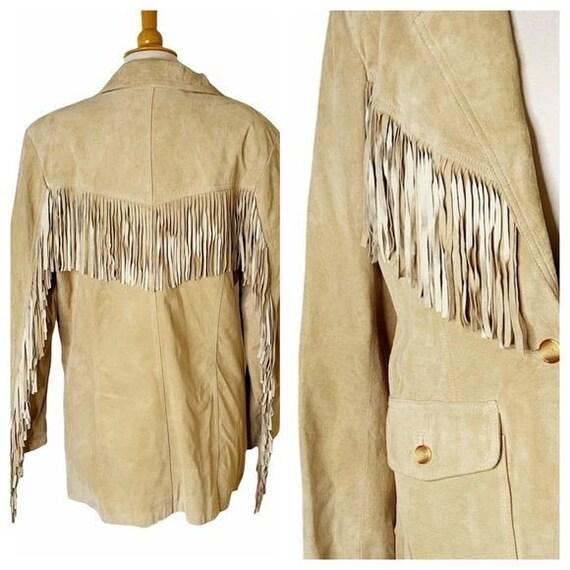 Vintage Unisex Tan Leather Fringed Jacket - Large - image 4