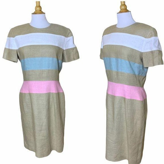 SCAASI Vintage 1980s Striped Linen Dress Size 12 - image 1