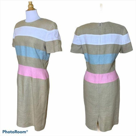 SCAASI Vintage 1980s Striped Linen Dress Size 12 - image 2