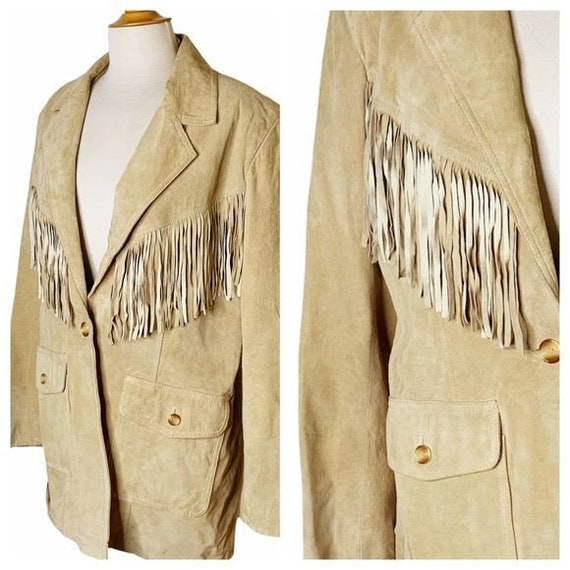 Vintage Unisex Tan Leather Fringed Jacket - Large - image 2