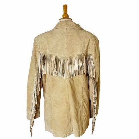 Vintage Unisex Tan Leather Fringed Jacket - Large - image 8