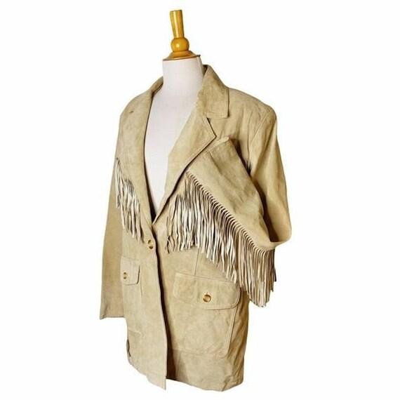 Vintage Unisex Tan Leather Fringed Jacket - Large - image 5