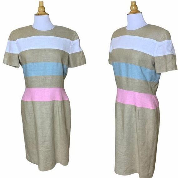 SCAASI Vintage 1980s Striped Linen Dress - 12