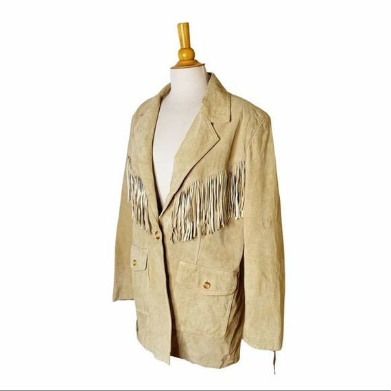 Vintage Unisex Tan Leather Fringed Jacket - Large - image 6
