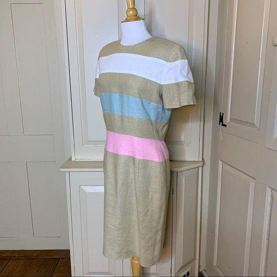 SCAASI Vintage 1980s Striped Linen Dress Size 12 - image 5